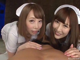 Naughty nurse Kisaki Aya and her colleague share a distress gumshoe