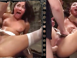 Gungy stunner plowed xxx with five immense penises!