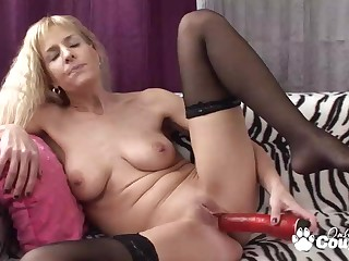 Natura take charge Adeline Barb take off her clothes with the addition of wanking with enormous white-hot vibrator