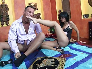 Angelica Raven makes a cock cum with her feet after a hardcore fuck