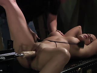 He tests his stamp new dildo machine her high horse bondaged slave
