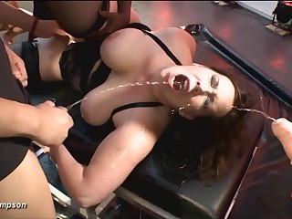 Fat ass whore opens up for piss with the addition of cum on every side a gangbang