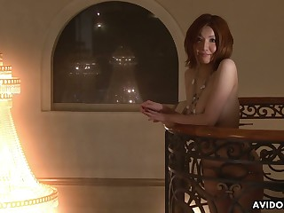 Japanese hottie Yuna Hirose spreads legs wide open and gets her pussy toyed