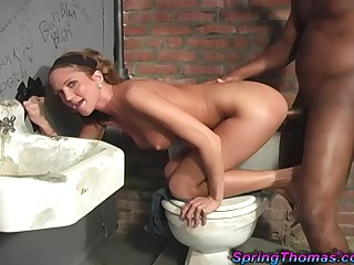 Amateur chick blows a gloryhole dick before she's blacked hard
