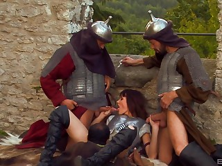 Theodora Ferreri gets say no to cunt penetrated away from three dudes outdoors