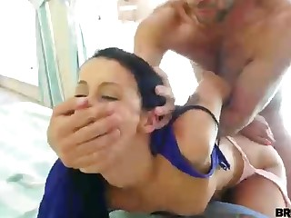 Ultra-Kinky brown-haired got porked hard by a nasty clothes-horse she just faced, next to the pool